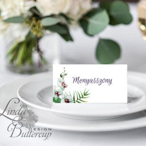 Esküvői ültető kártya, ültető, névkártya, név tábla, Esküvői dekor, dekoráció, virágos, natúr, greenery, természetközeli, Esküvő, Meghívó, ültetőkártya, köszönőajándék, Esküvői dekoráció, Naptár, képeslap, album, Otthon & lakás, Fotó, grafika, rajz, illusztráció, Papírművészet, Igényes, sátras, két oladalas asztali ültetőkártya\n\nMÉRETE összehajtva: kb: 4.5x9.2cm\n\n* SZERKESZTÉS..., Meska
