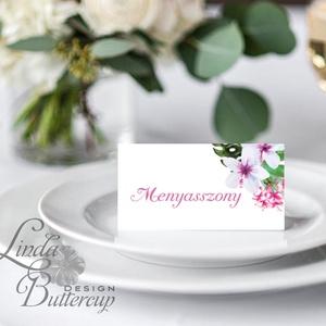 Esküvői ültető kártya, ültető, névkártya, név tábla, Esküvői dekor, dekoráció, virágos, tavaszi, romantikus, vintage (LindaButtercup) - Meska.hu