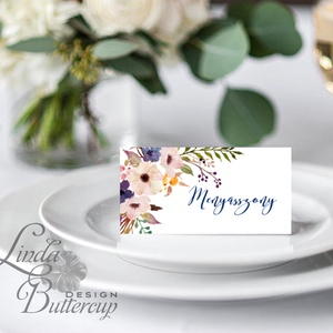 Esküvői ültető kártya, ültető, névkártya, név tábla, Esküvői dekor, dekoráció, virágos, natúr, greenery, természetközeli (LindaButtercup) - Meska.hu