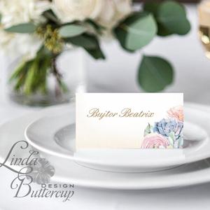 Esküvői ültető kártya, ültető, névkártya, név tábla, Esküvői dekor, dekoráció, virágos, elegáns, romantikus, vintage (LindaButtercup) - Meska.hu