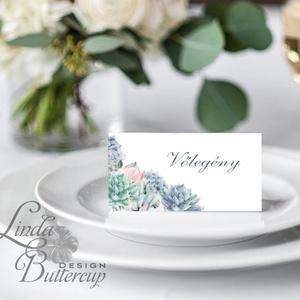 Esküvői ültető kártya, ültető, névkártya, név tábla, Esküvői dekor, dekoráció, virágos, elegáns, romantikus, vintage, Esküvő, Meghívó, ültetőkártya, köszönőajándék, Esküvői dekoráció, Naptár, képeslap, album, Otthon & lakás, Fotó, grafika, rajz, illusztráció, Papírművészet, Igényes, sátras, két oldalas asztali ültetőkártya\n\nMÉRETE összehajtva: kb: 4.5x9.2cm\n\n* SZERKESZTÉSI..., Meska