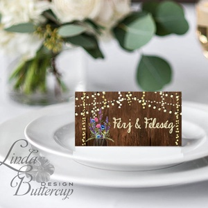 Esküvői ültető kártya, ültető, névkártya, név tábla, Esküvői dekor, dekoráció, pajta, rusztikus, virágos, vintage (LindaButtercup) - Meska.hu