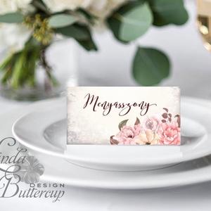 Esküvői ültető kártya, ültető, névkártya, név tábla, Esküvői dekor, dekoráció, virágos, rózsás, romantikus, vintage (LindaButtercup) - Meska.hu