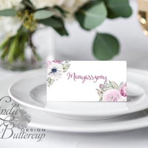 Esküvői ültető kártya, ültető, névkártya, név tábla, Esküvői dekor, dekoráció, virágos, rózsás, romantikus, vintage, núd (LindaButtercup) - Meska.hu
