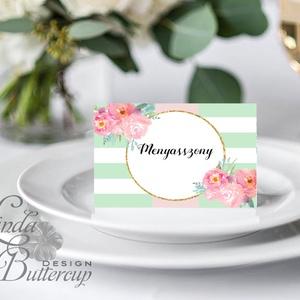 Esküvői ültető kártya, ültető, névkártya, név tábla, Esküvői dekor, dekoráció, virágos, nyár, rózsa, romantikus, vintage (LindaButtercup) - Meska.hu
