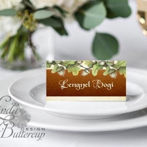 Esküvői ültető kártya, ültető, névkártya, névtábla, Esküvői dekor, dekoráció, makk, őszi, erdei, természet, vintage, ősz, Esküvő, Ültetési rend, Meghívó & Kártya, Fotó, grafika, rajz, illusztráció, Papírművészet, Meska