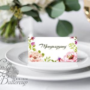 Esküvői ültető kártya, ültető, névkártya, név tábla, Esküvői dekor, dekoráció, virágos, rózsás, romantikus, vintage, Esküvő, Meghívó, ültetőkártya, köszönőajándék, Esküvői dekoráció, Naptár, képeslap, album, Otthon & lakás, Fotó, grafika, rajz, illusztráció, Papírművészet, Igényes, sátras, két oldalas asztali ültetőkártya\n\nMÉRETE összehajtva: kb: 4.5x9.2cm\n\n* SZERKESZTÉSI..., Meska