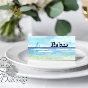 Esküvői ültető kártya, ültető, névkártya, névtábla, Esküvői dekor, dekoráció, hajó, nyári, vitorla, tengerpart, beach (LindaButtercup) - Meska.hu