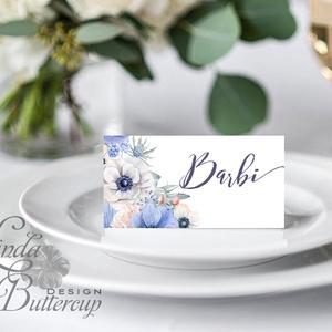 Esküvői ültető kártya, ültető, névkártya, névtábla, Esküvői dekor, dekoráció, virágos, rózsás, romantikus, vintage (LindaButtercup) - Meska.hu