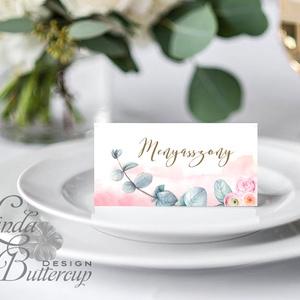 Esküvői ültető kártya, ültető, névkártya, név tábla, Esküvői dekor, dekoráció, virágos, leveles, romantikus, vintage, Esküvő, Ültetési rend, Meghívó & Kártya, Fotó, grafika, rajz, illusztráció, Papírművészet, Meska