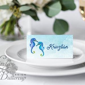 Esküvői ültető kártya, ültető, névkártya, névtábla, Esküvői dekor, dekoráció, csikóhal, nyári, nyár, tengerpart, beach (LindaButtercup) - Meska.hu