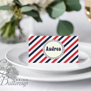 Esküvői ültető kártya, ültető, névkártya, névtábla, Esküvői dekor, dekoráció, retró, vintage, retro, csíkos, nosztalgia (LindaButtercup) - Meska.hu