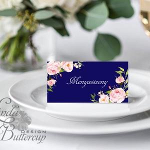Esküvői ültető kártya, ültető, névkártya, név tábla, Esküvői dekor, dekoráció, virágos, kék, rózsás, romantikus, vintage (LindaButtercup) - Meska.hu