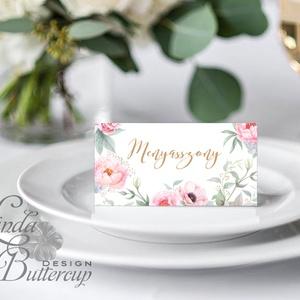 Esküvői ültető kártya, ültető, névkártya, név tábla, Esküvői dekor, dekoráció, virágos, rózsás, pasztell, núd, vintage (LindaButtercup) - Meska.hu