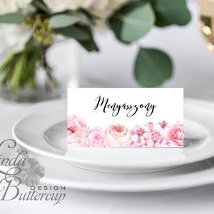 Esküvői ültető kártya, ültető, névkártya, névtábla, Esküvői dekor, dekoráció, virágos, rózsás, pasztell, núd, vintage (LindaButtercup) - Meska.hu