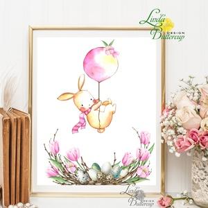 Tavaszi falikép, Húsvéti dekoráció, Húsvéti kép, Tavaszi virágok, virág koszorú, réti virág, vadvirág, nagy péntek - Meska.hu