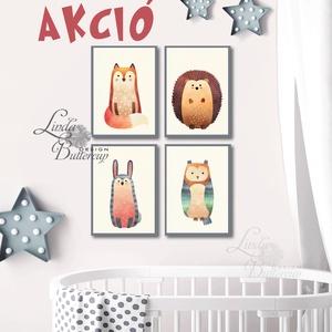 AKCIÓ Babaszoba állatos falikép, Állatok festmény, Erdeiállat, vadállatok, Gyerekszoba dekor, nyuszi, bagoly, róka, süni (LindaButtercup) - Meska.hu