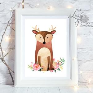 Szarvas Gyerekszoba Kép, Print, állatos, babsszoba dekoráció, dekor, falikép, szülinap, erdeiállat, virágos, vízfesték (LindaButtercup) - Meska.hu