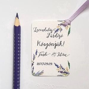 Köszönet kártya, ajándékkísérő,köszönet ajándék, esküvői kísérőkártya, köszönjük, levendula, levendulás, lila, rét (LindaButtercup) - Meska.hu