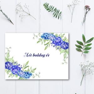 Kék virágos könyv, Fotó Album, évforduló, Polaroid camera, Polaroid fotó, Esküvői Emlékkönyv, Mappa Vendégkönyv  (LindaButtercup) - Meska.hu