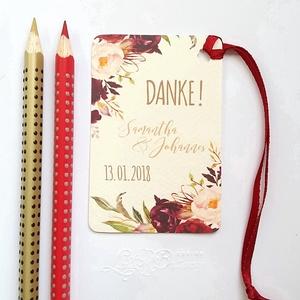 Köszönet kártya, ajándékkísérő,köszönet ajándék, esküvői kísérőkártya, köszönet lap, köszönjük, őszi esküvő, őszirózsa, Esküvő, Köszönőajándék, Emlék & Ajándék, Igényes köszönetkártya, ajándékkísérő lyukasztva szalaggal kötve  * MÉRETE: kb: 5.4 x 8 cm Más méret..., Meska