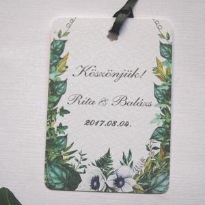 Esküvői köszönetkártya, greenery, ajándékkísérő, natúr, természetközeli, esküvői dekoráció, borostyán, köszönetajándék, Esküvő, Köszönőajándék, Emlék & Ajándék, Igényes köszönetkártya, ajándékkísérő lyukasztva szalaggal kötve  * MÉRETE: kb: 5.4 x 8 cm Más méret..., Meska
