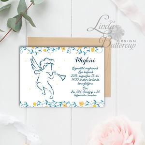 Keresztelő Meghívó, angyal, angyalos, angyalka, virágos, csillag, vadvirág, réti, zöld leveles, levél, natúr meghívó, Játék & Gyerek, 3 éves kor alattiaknak, Fotó, grafika, rajz, illusztráció, Papírművészet, Keresztelő Meghívó\n\n* MEGHÍVÓ BORÍTÉKKAL:\n- Meghívó egy lap, egy oldalas: kb.: 14cm x 10cm\n- BORÍTÉK..., Meska