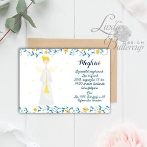 Keresztelő Meghívó, angyal, angyalos, angyalka, virágos, csillag, vadvirág, réti, zöld leveles, levél, natúr meghívó (LindaButtercup) - Meska.hu