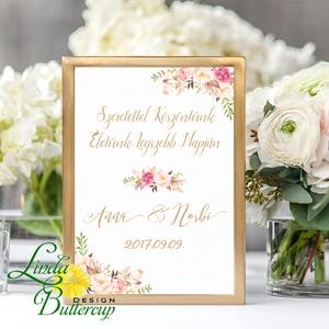 Esküvői Welcome tábla, Üdvözlünk, Felirat A4 Esküvői kép, Esküvő Dekor, Esküvői felirat, dekoráció, tábla, Esküvő, Esküvői dekoráció, Dekoráció, Otthon & lakás, Kép, Fotó, grafika, rajz, illusztráció, Papírművészet, A/4-es Esküvői Felirat Dekoráció, bármilyen szöveggel, keret nélkül.\n\nBármilyen feliratot kérhetsz r..., Meska