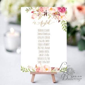 Ültetésirend kártya, Ültetési rend, név tábla kellék, Esküvői lap, Esküvő Dekor, Esküvői felirat, kártya, ültető, Esküvő, Ültetési rend, Meghívó & Kártya, 10x15 cm-es ültetésirend Esküvői kártya / Lap. Standard álló képkeretbe, asztalra.  Egyéb méretek ké..., Meska