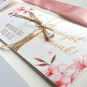 Pénzátadó boríték, Nászajándék, Gratulálunk képeslap, Esküvői Gratuláció, virágos, pénz átadó lap, vintgae, hortenzia (LindaButtercup) - Meska.hu