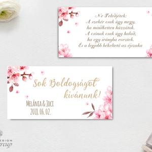 Pénzátadó boríték, Nászajándék, Gratulálunk képeslap, Esküvői Gratuláció, virágos, cseresznyafa virág, tavaszi, arany, Esküvő, Nászajándék, Meghívó, ültetőkártya, köszönőajándék, Otthon & lakás, Fotó, grafika, rajz, illusztráció, Papírművészet, Igényes Egyedi Személyre szóló Pénzátadó Zsebes Boríték Szalaggal átkötve.\n\nFONTOS:\nA pénzátadónak a..., Meska