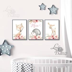 Babaszoba falikép, Egyedi felirattal, Állatos festmény, Erdeiállat, kép, Gyerekszoba dekoráció, süni, róka, őz (LindaButtercup) - Meska.hu