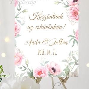 Esküvői Poszter A3, Esküvői kép, Esküvő Dekor, Felirat, Tábla, Vintage, Elegáns, Virágos, Rusztikus, Welcome, vendégváró, Esküvő, Helyszíni dekor, Dekoráció, Fotó, grafika, rajz, illusztráció, Papírművészet, Meska
