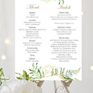 Esküvői Poszter A3, Esküvő menü, Esküvő Dekor, Felirat, Tábla, Vintage, Elegáns, geometrikus, greenery étlap, vendégváró, Esküvő, Menü, Meghívó & Kártya, Fotó, grafika, rajz, illusztráció, Papírművészet, Meska