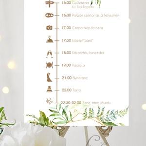 Esküvői Poszter A3, program, Esküvő Dekor, Felirat, Tábla, Vintage, Elegáns, geometrikus, greenery program, vendégváró, Esküvő, Helyszíni dekor, Dekoráció, Fotó, grafika, rajz, illusztráció, Papírművészet, Meska