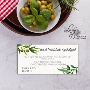 Pénzátadó boríték, olivabogyó, Nászajándék, Gratulálunk képeslap, greenery, Esküvői Gratuláció, zöld, pénzátadó lap,  (LindaButtercup) - Meska.hu