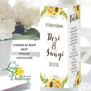 Esküvői Menü, napraforgó, Rusztikus Esküvő, Virágos Étlap, Itallap, Italok, sárga, mezei virágok, Vintage Esküvő, réti (LindaButtercup) - Meska.hu