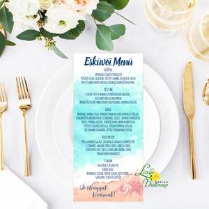 Egy lapos Menü, Itallap, Étlap, Vacsora, Nyári Esküvő, mályva, rózsa, romantikus, Esküvői dekor, Asztal dekor, Esküvő, Menü, Meghívó & Kártya, Egy lapos egy oldalas Menü  * Egy oldalas nyomtatás : kb. 20.2cm x 9.2cm  40db vásárlása felett dara..., Meska