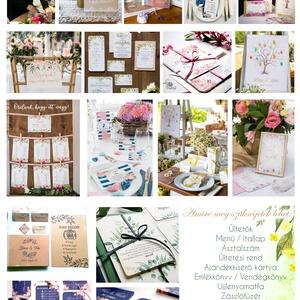 Egy lapos Menü, Itallap, Étlap, Vacsora, Nyári Esküvő, mályva, rózsa, romantikus, Esküvői dekor, Asztal dekor - Meska.hu