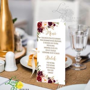 Esküvői Menü, Rusztikus esküvői dekoráció, bordó, arany, rózsás, natúr, menüsor, itallap, italok, asztalszám, őszirózsa, Esküvő, Meghívó, ültetőkártya, köszönőajándék, Esküvői dekoráció, Dekoráció, Otthon & lakás, Fotó, grafika, rajz, illusztráció, Papírművészet, Esküvői Virágos Álló Háromszög Menü Szalaggal\n\nEsküvői Menükártya\nÁlló 3szög forma, 1 oldal: 20x9,5c..., Meska