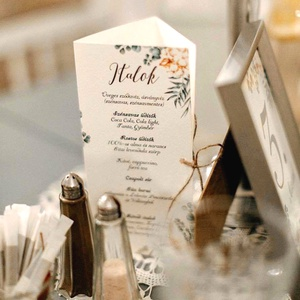 Esküvői Menü, Rusztikus esküvői dekoráció, greenery, eukaliptusz, natúr,menüsor, itallap, italok, asztalszám, Party menü (LindaButtercup) - Meska.hu