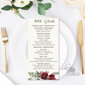 Egy lapos Menü, Itallap, Étlap, Vacsora,  bordó, burgundy, rózsa, romantikus, Esküvői dekor, Asztal dekor, Esküvő, Menü, Meghívó & Kártya, Egy lapos egy oldalas Menü / Itallap  * Egy oldalas nyomtatás : kb. 20.2cm x 9.2cm  40db vásárlása f..., Meska