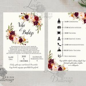 Bordó meghívó, őszirózsa, őszi, Erdei Esküvői meghívó, Natúr Esküvő, Rusztikus meghívó, virágos, vad virág, Bohém, rózsa - esküvő - meghívó & kártya - meghívó - Meska.hu