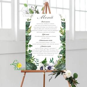Esküvői Poszter A3, Menü, Itallap, Esküvő Dekor, Esküvői felirat, borostyán, greenery, erdei, erdő, zöld (LindaButtercup) - Meska.hu