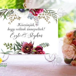Esküvői Felirat A4, Köszöntő, Üdvözlő, Esküvő Dekor, Esküvői felirat, bordó, burgundy, őszi, rózsa, welcome (LindaButtercup) - Meska.hu