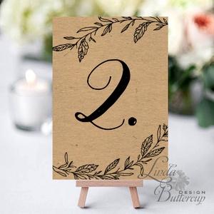 Asztalszám kártya, barna, kraft, natúr, újrahasznosított papír, Dekoráció, Esküvői lap, Esküvő Dekor, Esküvői felira, Esküvő, Asztaldísz, Dekoráció, 10x15 cm-es ASZTALSZÁM Esküvői kártya / Lap.  Standard álló képkeretbe, asztalra.  (A képen a tartó ..., Meska