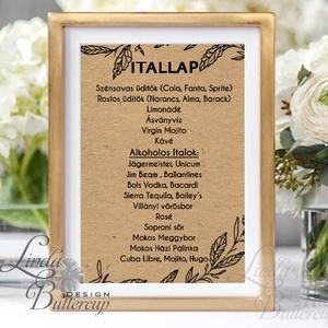 Natúr Barna Itallap, Asztalszám, kraft, spárga, Esküvői lap, Esküvői menü, rózsaszín menü, Party menü, rusztikus (LindaButtercup) - Meska.hu