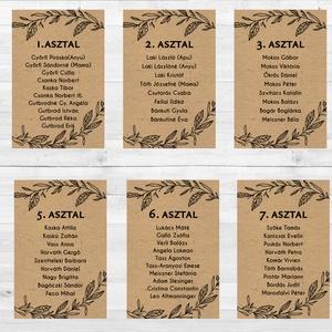 Ültetési rend, Asztalszámok, Esküvői ültetésirend, Ültetők, Ültetésrend, Esküvő ültető kártya, barna, natúr, kraft, Esküvő, Ültetési rend, Meghívó & Kártya, Esküvői Ültetési rend   9db lap / 8 asztal + 1Főasztal  Gyönyörű Igényes Esküvői Ültetési rend Akasz..., Meska