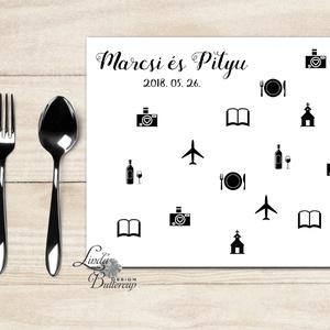 tányér alátét, étkészlet alátét, menü, Esküvői lap, Esküvői menü, Party menü (LindaButtercup) - Meska.hu